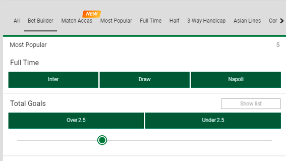 How to use Bet builder